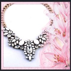 Clear Crystal and White Choker Beautiful necklace for any occasion.. Back by popular demand!! Jewelry Necklaces