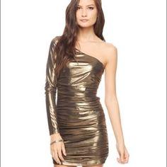 83c8b8e8b1 One-Sleeve Shiny Metallic Bronze Dress Nye Dress