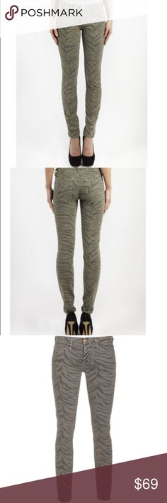 "NWT Current/Elliott Ankle Skinny Olive Zebra Jeans Brand new with tags still attached Current/Elliott Ankle Skinny Dusty Olive Zebra Jeans. The ""ankle skinny"" cut is a true eighties skinny that hugs every curve. This jean is to be worn very fitted and low on the waist. 98% cotton 2% elastane. Inseam is 30"". 5 pocket styling. Current/Elliott Jeans Ankle & Cropped"