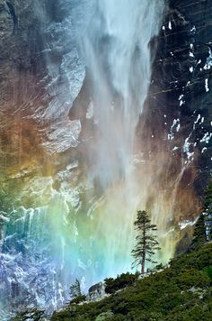 Bridal Fall at Yosemite,  Yosemite National Park, California.