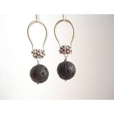 Black Lava Modern Hoop Earrings Hammered Silver Wire Volcanic Hoops... (85 PLN) ❤ liked on Polyvore featuring jewelry, earrings, hammered wire earrings, sterling silver jewelry, silver earrings, sterling silver hoop earrings and hammered hoop earrings