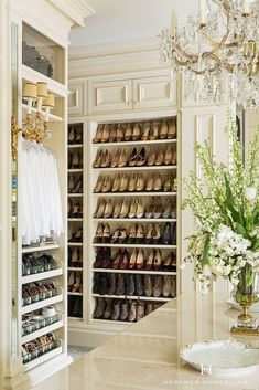 Shoes are a form of ART when you are designing a luxury closet! Use them as the eye candy that they are by displaying them on open shelves where you can enjoy them everyday. Get more of My Top 10 Tips to Create the Perfect Luxury Closet . Walk In Closet Design, Closet Designs, Dream Home Design, House Design, Armoire Dressing, Closet Island, Le Closet, Beautiful Closets, Home Modern