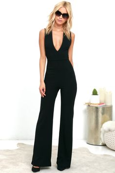 Your admirers will have a lot to say about their love for you in the Thinking Out Loud Black Backless Jumpsuit! Knit jumpsuit has wide crossing straps.