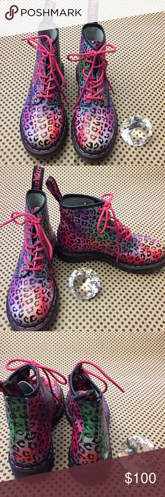 Dr. Martens PINK RAINBOW LEOPARD Leather Boots These Dr. Martin Rainbow Leopard Boots are perfect for the free spirit! Never worn!  See photos.  Very soft suede feeling on the inner part of the boots. Bundle and save! Dr. Martens Shoes Combat & Moto Boots