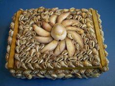 Vintage Seashell Trinket Box Clam Conch Shells
