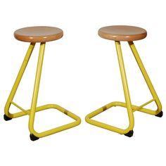 Pair of Yellow Studio Stools