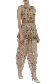 Buy Patchwork Embroidered Peplum Tunic With Dhoti Pants by Ayesha Aejaz at Aza Fashions