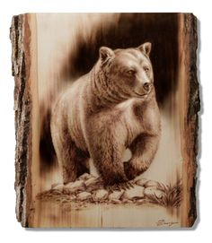 Wood Burning Grizzly Bear by Dennis Franzen