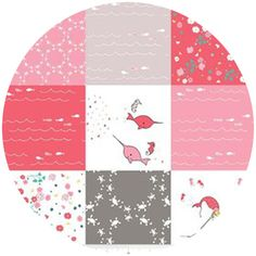 """Natalie Lymer, Saltwater, Patchwork Pink   Fabric is sold by the 1/2 Yard. For example, if you would like to purchase 1 Yard, you would enter 2 in the Qty. box at Checkout. Yardage is cut in one continuous piece.  Examples:  1/2 yard = 1 1 yard = 2 1 1/2 yards = 3 2 yards = 4  1/2 Yard Measures 18"""" x 44/45""""   Fiber Content: 100% Cotton  Hover over image for a larger, better view."""