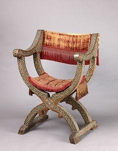 Dante Chair Seat, Back, and Seat Cushion. 15th or 16th c Italian. Walnut; red silk cut velvet, linen.