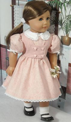 1940s 1950s Pink Dress and Weskit for 18 inch Girls like Molly, Emily on Etsy, Sold