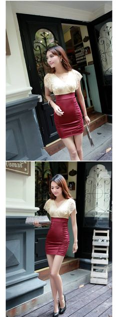 Women Korean Style Short Sleeve V-Neck Crocheted Pleated Dress - Item 701236 at Eastclothes.com