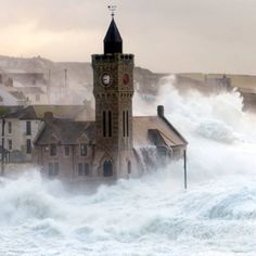 The outer harbour in Porthleven, Cornwall, breached by storms