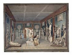W. Chambers, The Townley Collection in the Dining Room at Park Street, Westminster, a watercolour. The sculpture collection of Charles Townley in the dining room of his house in Park Street, Westminster; classical sculptures arranged around the walls of the room, the 'Discobolus' in the centre, with a man overlooking the work of a young woman seated on its plinth making a drawing, and another couple standing in the background. 1794 Pen and grey ink and watercolour, with