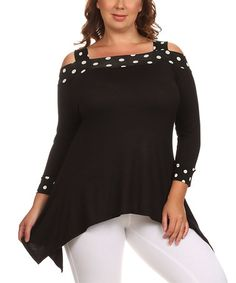 Love this Black Polka Dot-Trim Off-Shoulder Tunic - Plus on #zulily! #zulilyfinds
