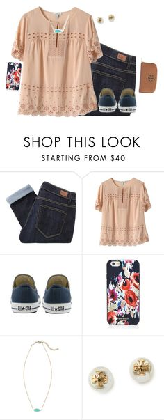 """""""Untitled #400"""" by kvonhoffmann ❤ liked on Polyvore featuring Paige Denim, J.Crew, Converse, Kate Spade, Kendra Scott and Tory Burch"""