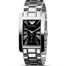 Emporio Armani Men's Rectangular Stainless Watch - Silver-Black AR0156