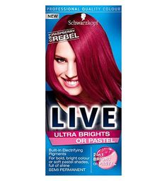 Schwarzkopf LIVE Color XXL Ultra Brights 91 20 Advantage card points. Get creative with Schwarzkopf LIVE Color XXL HD Raspberry Rebel 91. Full head application, dip-dye, streak, pastels or just adding a hint of pink to your current colour, ever http://www.MightGet.com/april-2017-1/schwarzkopf-live-color-xxl-ultra-brights-91.asp