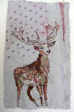 Embroidery and patchwork with vintage textiles by artist Mandy Pattullo. Free Motion Embroidery, Embroidery Applique, Embroidery Stitches, Machine Embroidery, Fabric Art, Fabric Crafts, Vogel Quilt, Stitch Drawing, Bird Quilt