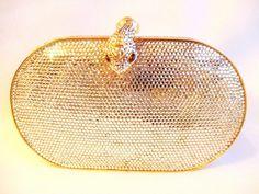 New Judith Leiber Serpent Swarovski Minaudiere  Bag Clutch