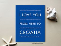 Croatia Travel Vacation Gift Idea, Wall Art Print, I Love You From Here To CROATIA, Shown in Royal Blue - Choose Color, Framed Poster by HopSkipJumpPaper