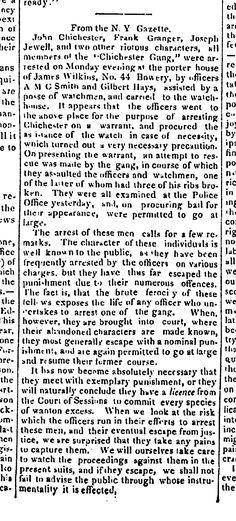 1836.4.8. James Wilkins, porterhouse keeper, No.42 Bowery. (Chichester Gang raid)