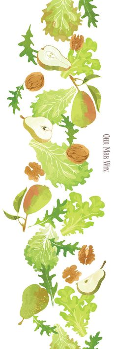 Really great textures and flavours in this simple Pear Walnut and Feta salad. Food illustration Ohn Mar Win