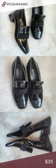 Vaneli Patent Heeled Loafers 6M Never worn! Excellent condition! Sticker residue on leather bottoms. Short heel. Perfect office shoe. Classic and cute!  Bundle for best deals! Hundreds of items available for discounted bundles! Bundle offers welcome.   Follow on IG: @the.junk.drawer Vaneli Shoes Heels