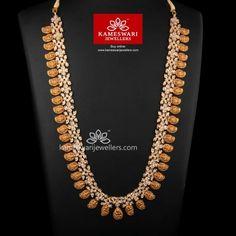 Lakshmi Mango mala in CZs Gold Jewellery Design, Gold Jewelry, Gold Necklaces, Bridal Jewelry, Mango Mala Jewellery, India Jewelry, Kerala Jewellery, Dolphin Jewelry, Necklace Online