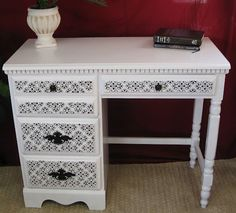 Desk rehab: white satin paint with black damask stencil