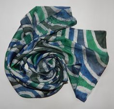 Mens silk scarf hand painted men's unisex scarf by EveSilkBatik