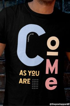 """Inspired by the Scripture Matthew 11:28, """"Then Jesus said, """"Come to me, all of you who are weary and carry heavy burdens, and I will give you rest."""" This Men's 90s Christian streetwear tee speaks of God's Truth and Love. Wear this Black Cotton tee with Pastel coloured text tee to help you, share the gospel and message of Christianity at church, work, school and the streets of your city. The perfect gift for Men who love Jesus #christianapparel #christiantshirts #jesustees… Christian Clothing, Christian Shirts, Christian Apparel, Hope Scripture, Faith Verses, Yellow Tees, Jesus Shirts, Cotton Tee, Mens Tees"""