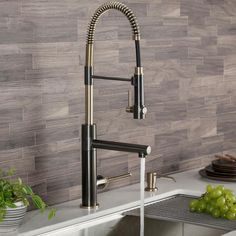 KRAUS Artec Pro Single-Handle Pull Down Sprayer Kitchen Faucet with Pot Filler in Black Stainless/Brushed Gold - The Home Depot Kitchen Faucet With Sprayer, Kitchen Faucet Reviews, Cheap Kitchen Faucets, Moroccan Tile Bathroom, Moroccan Tiles, Bathroom Bath, Faucet Handles, Kitchen Handles, Brass Kitchen