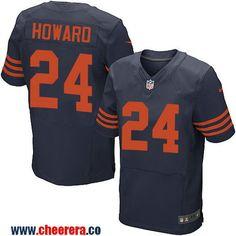 Men's Chicago Bears #24 Jordan Howard Blue With Orange Alternate Stitched NFL Nike Elite Jersey