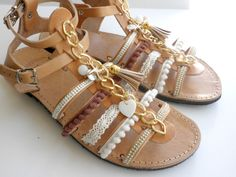 Boho leather sandals, Decorated sandals, Gladiator sandals, Spartan sandals,Bohemian leather sandals, Women summer shoes by dadahandmade on Etsy