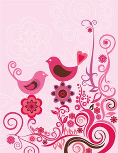 Valentina Ramos Solid-Faced Canvas Print Wall Art Print entitled Pink Birds and Ornaments Canvas Wall Art, Wall Art Prints, Poster Prints, Framed Prints, Canvas Prints, Murals Your Way, Pink Bird, Canvas Size, Wall Murals