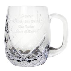 Engraved Crystal Pint Rounded Tankard