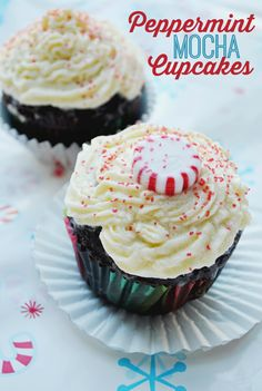 Add peppermint coffee creamer to a fudge cupcake for a minty dessert! This peppermint mocha cupcake is a delightful way to enjoy the holiday season.