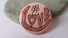Ceramic Pottery Pink LOVE Brooch Pin Scarf Pin by RowanSongCrafts
