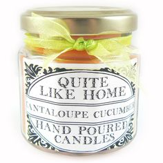 Cantaloupe Cucumber scented 4 oz. jar candle by QuiteLikeHome on Etsy