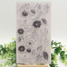 Flower Butterfly transparentní čirá Silikonová razítka pro kutily Scrapbooking / Card Vytváření / Kids Christmas Fun Dekorace a zahradu