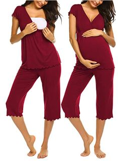 Nursing Pajama Set, Maternity Nursing Pajamas, Breastfeeding And Pumping, Pregnancy Stages, Lounge Wear, Capri, How To Wear, Outfits, Poses