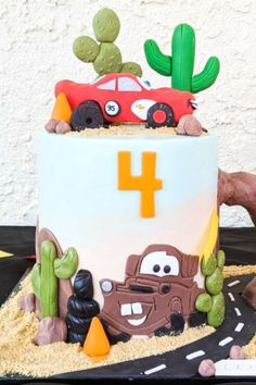 Check out this awesome Quarantine Cars birthday party! The cake is fantastic! See more party ideas and share yours at CatchMyParty.com #catchmyparty #partyideas #cars #carsparty #boybirthdayparty #quarantineparty #cake Disney Cars Party, Disney Cars Birthday, Cars Birthday Parties, Birthday Ideas, Tattoo Baby Shower, Baby Shower Tea, Lightning Mcqueen Party, Paper Party Decorations, Themed Birthday Cakes