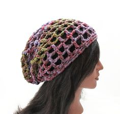 Grid Slouchy Beanie  Crocheted in Exclusive Chilean by Threadmill, $27.00
