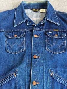 Vintage WRANGLER 70s Jacket No-Fault Denims RAW INDIGO Jean USA Trucker M #Wrangler #JeanJacket