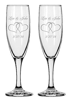 Gifts Infinity 2 Engraved Wedding Interlock Hearts Champagne Flutes Personalized Toasting Glasses See This Great