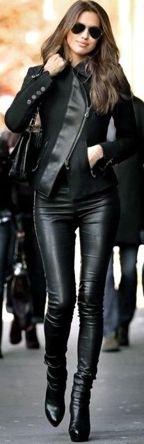 black leather--- just...yes. I'm going to wear an outfit like this one day. In new york. Watch out.