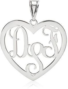 The sterling silver heart monogram pendant features 3 script initials that can be customized for your self of for a couple. Side Neck Tattoo, Neck Tattoo For Guys, Dragon Tattoo For Women, Monogram Jewelry, Monogram Necklace, Personalized Jewelry, White Heart Tattoos, Heart Tattoo Ankle, Heart Jewelry