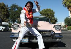 For $600, you can get married in a pink Cadillac, in a drive thru, by an Elvis impersonator, who also sings three songs. The package even includes flowers for the bride and groom, six photos, and an 8x10 glossy of the King!