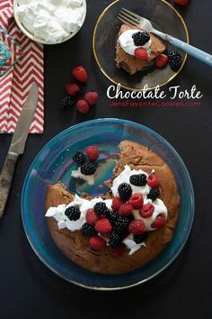 Chocolate Torte from JensFavoriteCookies.com - a rich and dense small-batch cake, great with cream and berries!